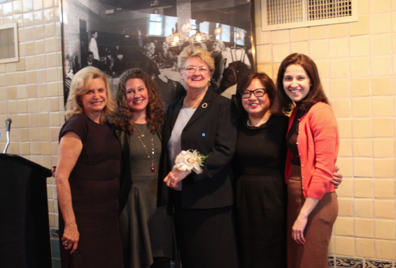 Congresswoman Carolyn Maloney with, from left, honorees Community Activist Patricia Babor, Tracy Capune, Vice President of Kaufman Studios, and Amy Hau, the Director of Administration and External Affairs at the Noguchi Museum, and Assembly Member Aravella Simotas on the right.