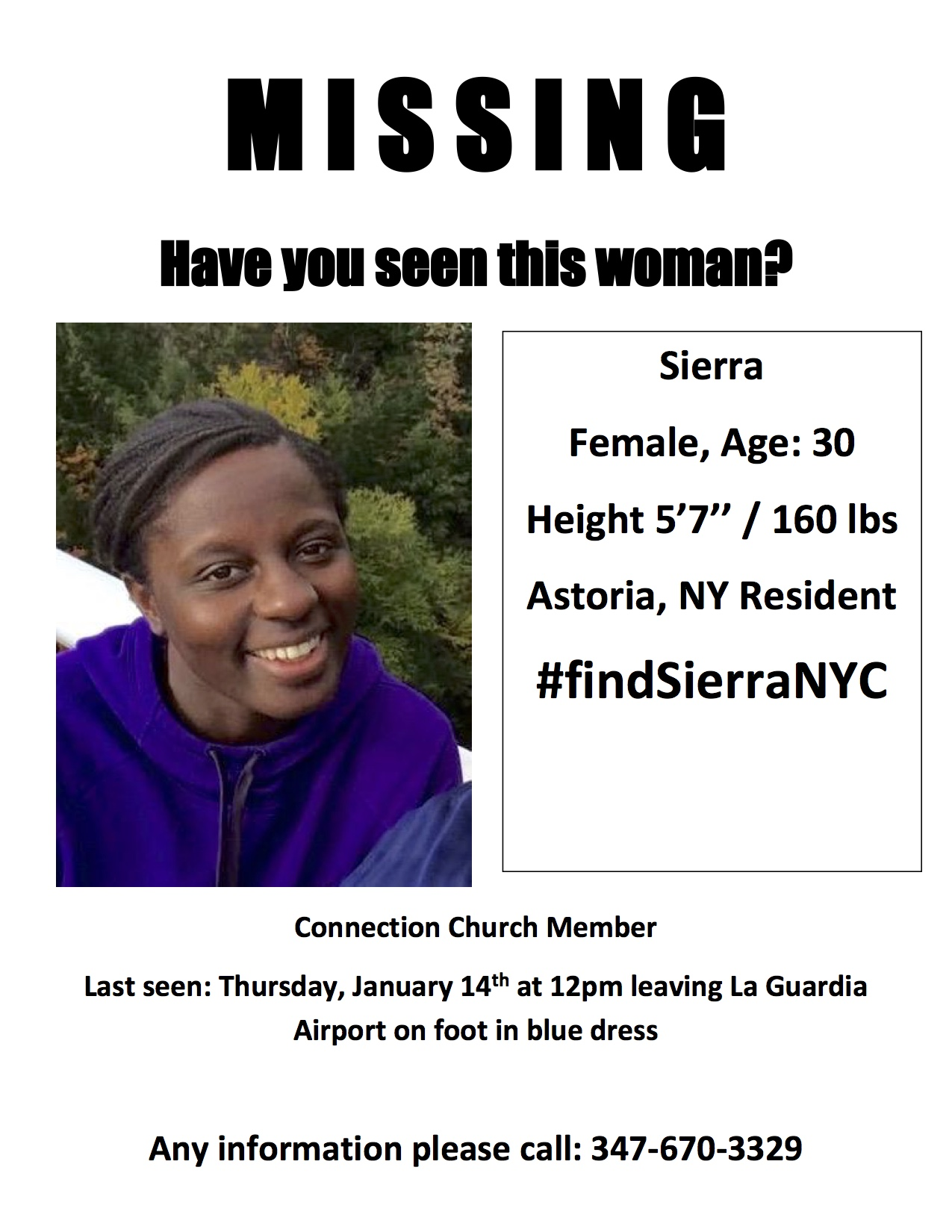 A missing poster for Sierra Shields.