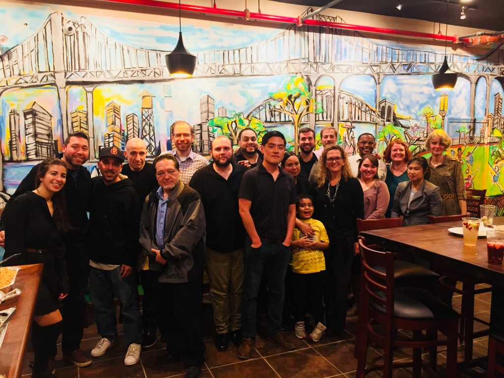 Louis, 4th from left, is the proprietor of Chick-n-soup at 30-12 Astoria Blvd.. It will open November 13. Pictured here with friends from Variety Boys & Girls Club in of Queens.